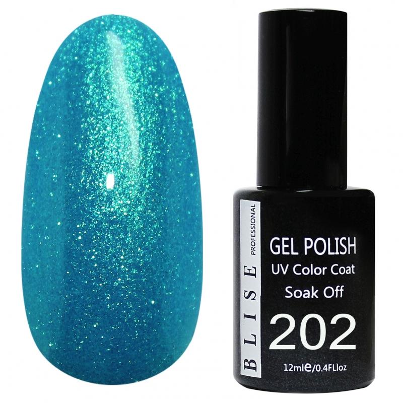 картинка Гель-лак BLISE 202- Голубой с бирюзовым микроблеском,полупрозрачный от магазина Gumla.ru