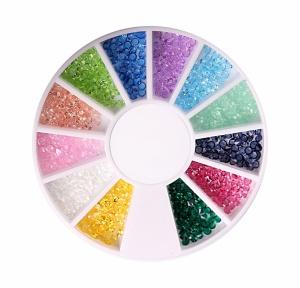 картинка Стразы пластиковые разных цветов в карусельке магазин Gumla.ru являющийся официальным дистрибьютором в России