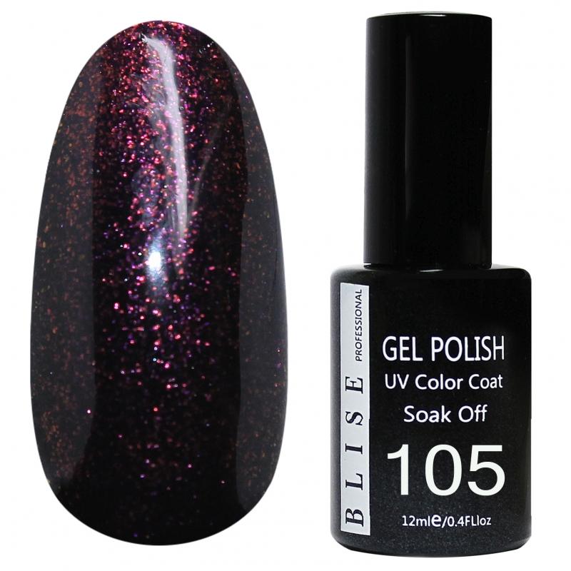 картинка Гель-лак BLISE 105- Баклажановый с розовыми блестками от магазина Gumla.ru