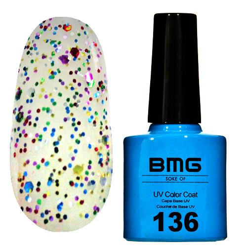 картинка Гель-лак BMG – Прозрачный с разно-форматными разноцветными блестками от магазина Gumla.ru