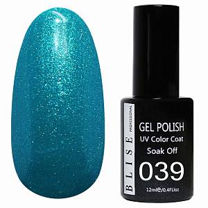 картинка Гель-лак BLISE 039- Бирюзово-синий с микроблеском магазин Gumla.ru являющийся официальным дистрибьютором в России
