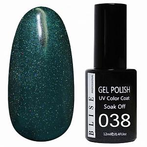 картинка Гель-лак BLISE 038- Сине-зеленый с микроблеском магазин Gumla.ru являющийся официальным дистрибьютором в России