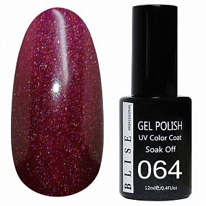 картинка Гель-лак BLISE 064- Пурпурно-вишневый с цветным микроблеском магазин Gumla.ru являющийся официальным дистрибьютором в России