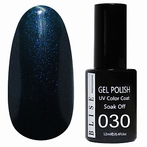 картинка Гель-лак BLISE 030- Черно-синий с синим микроблеском магазин Gumla.ru являющийся официальным дистрибьютором в России