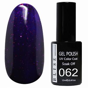 картинка Гель-лак BLISE 062- Темно-фиолетовый с красными блестками магазин Gumla.ru являющийся официальным дистрибьютором в России