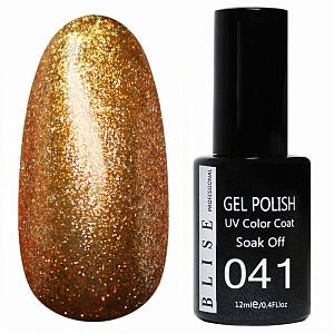 картинка Гель-лак BLISE 041- Золотисто-бронзовый с микроблестками, плотный магазин Gumla.ru являющийся официальным дистрибьютором в России